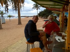 Early evening beverage at the beach bar