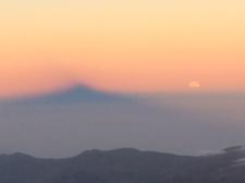 Mountain shadow as the sun goes down