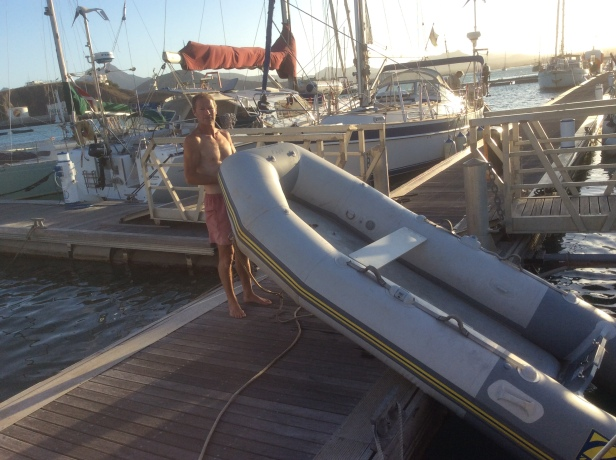 Getting the dinghy stowed