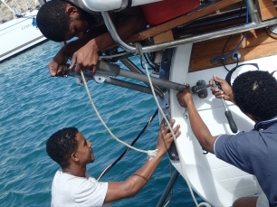 Boys in Mindelo fixing the self steering