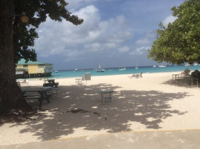 Barbados....view from beach bar as a type this blog. We're anchored out there.