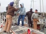 The ' mast off' team at Bock Marine