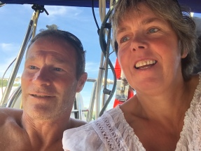 Not too good at the selfie thing but this what we look like after 3 years exactly on the boat